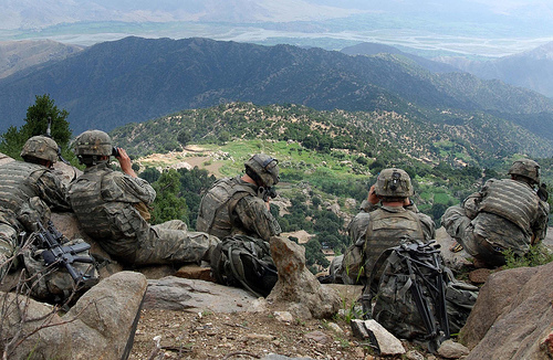 Scouts from 2nd Battalion, 503rd Infantry Regiment (Airborne), pull overwatch during Operation Destined Strike while 2nd Platoon, Able Company searches a village below the Chowkay Valley in Kunar Province, Afghanistan Aug. 22. www.army.mil