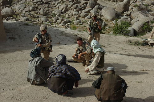 Canadian soldiers meet with Afghan elders.  Originally uploaded by lafrancevi.