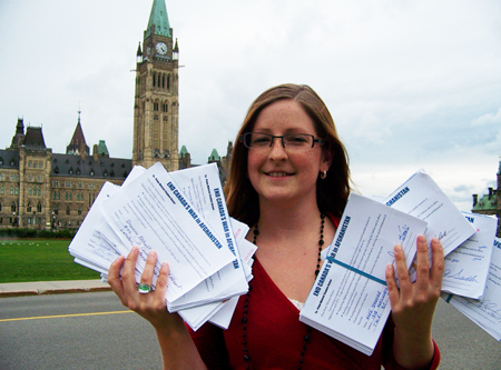 "Ceasefire.ca staffer Lauren Hunter delivered hundreds of ""End the War in Afghanistan"" petitions to the Prime Minister's office"