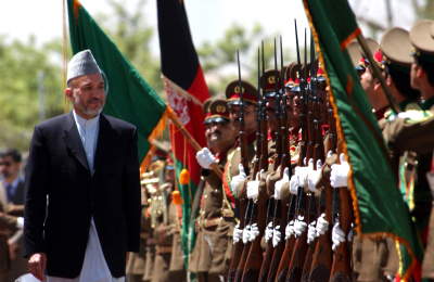 "Afghan President ""Taliban Hamid"" Karzai inspects ANA troops"