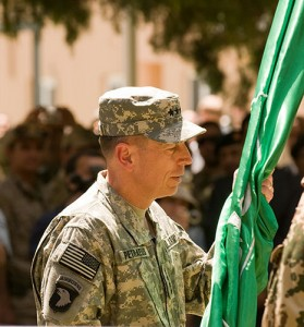 KABUL, Afghanistan (July 4) – Gen. David H. Petraeus assumes command of NATO's International Security Assistance Force in Afghanistan during a July 4 ceremony at the command's headquarters in Kabul