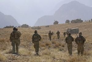 Soldiers from the Special Operations Task Group prepare to move in and clear a valley of Taliban extremists during a counter insurgency operation in Oruzgan Province, Afghanistan. Photo by LS Paul Berry Australian Government Department of Defence