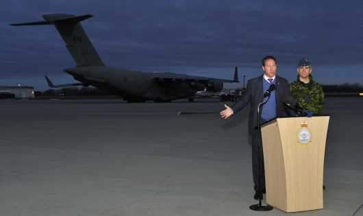 "Would you buy a used war from this man? Defence Minister MacKay announces Canada's ""one week"" commitment to the war in Mali."