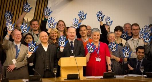 Abolition 2000 delegates at the Scottish parliament