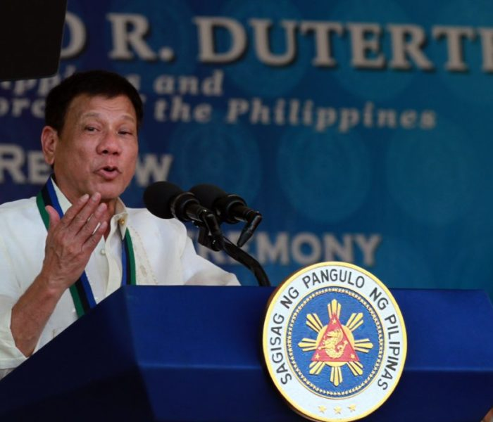 President Rodrigo R. Duterte delivers a speech during the turnover rites of the Armed Forces of the Philippines at Camp Aguinaldo on Friday where he discussed historical facts which led to the Mindanao problem and other issues relating to peace and order and the campaign for change towards ending hostilities with the CPP-NPA, MILF and  MNLF. (Photo by Marcelino Pascua/PCOO/photo)
