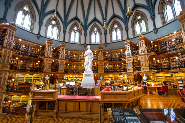 The library within the Canadian Parliament building in Ottawa, Ontario.